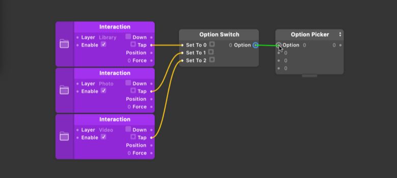 Be sure to connect to the Option input of the [Option Picker](../../documentation/patches/builtin.multiplexer.html).