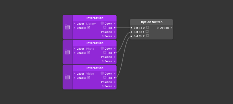 Connect the Tap output from each new [Interaction](../../documentation/patches/builtin.layer.interaction.html) patch to the next available [Option Switch](../../documentation/patches/builtin.indexSwitch.html) input.